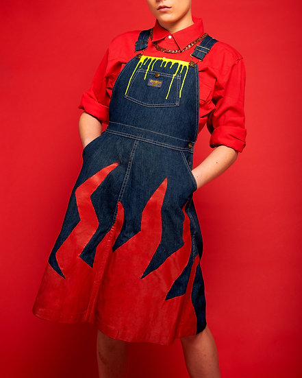 Neon Drip Reworked Vintage Dungaree Dress