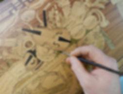 Conservation et restauration de la marqueterie du bureau cylindre de la chambre de Claude Monet à Giverny