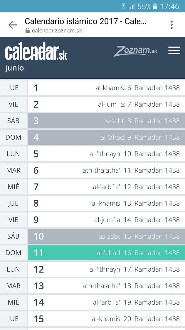 Calendario Islamico.Calendario Islamico
