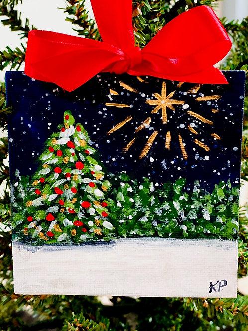 Christmas Night Mini Canvas Ornament