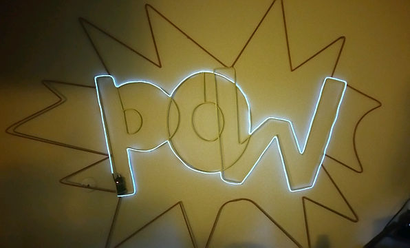 """POW"" 3.5' x 5.5' Steel Rods, spraypaint, and lights"