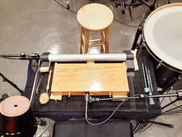 Setup of 'minute' (2019) for amplified percussion instruments and found objects