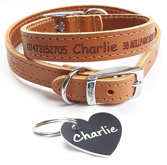 Personalised Custom Leather Dog Puppy Collar Design your Pet Id Tag FREE GIFT