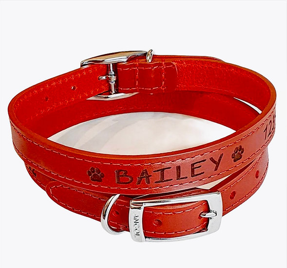 Heritage Soft Leather Collars with Unique Paw Print Design