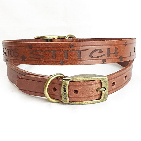 Stars for a Star. Personalised Custom Leather Dog Puppy Collar