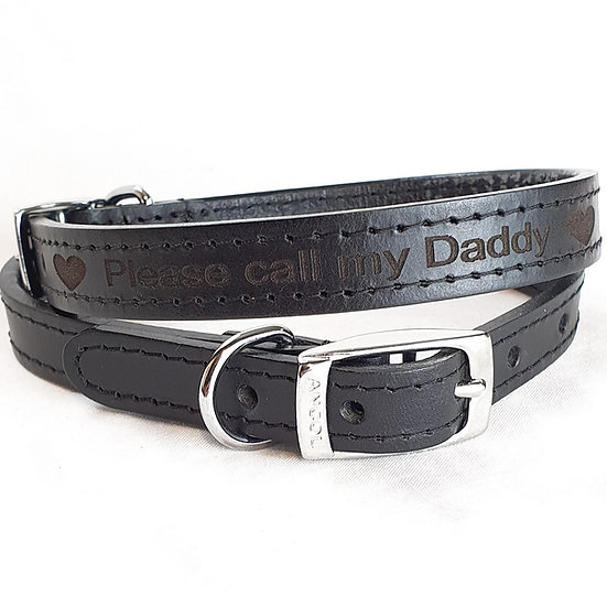 Please call my Daddy. Personalised Custom Leather Dog, Puppy Collar,
