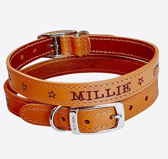 Heritage Soft Leather Collars with Unique Stars Design