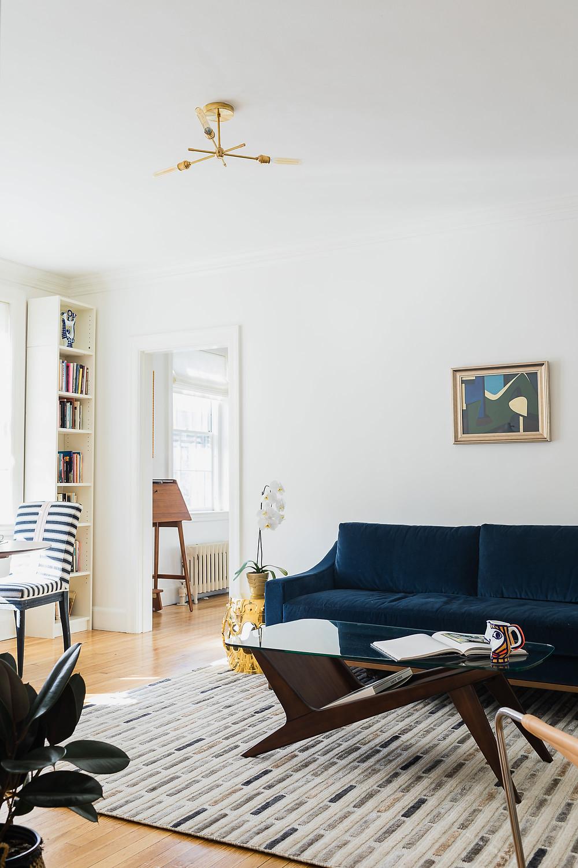 Cambridge Collector Living Room, Interior Design, Lighting, Shelving, Unique Collectibles, Artwork, Eclectic