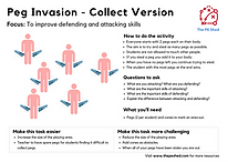 Peg Invasion is a Physical Education PE Warm Up Game focused on attacking and defending