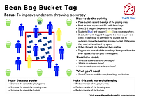 Bean Bag Bucket Tag is a PE Game focused on movement and throwing. The perfect Physical Education game to encourage activity and coordination