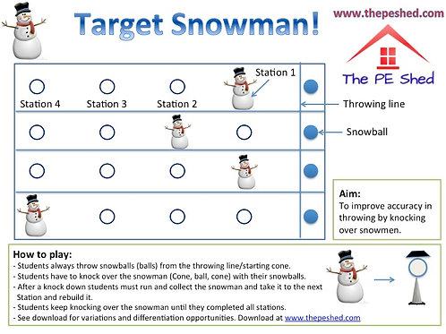 Target Snowman - Christmas PE Game