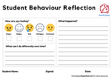 Student behaviour reflection sheet allows students to reflect in PE lessons whilst PE teachers teach