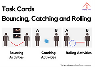Bouncing, Rolling and Catching PE Task Card Pack - 14 Physical Education Tasks to improve motor skills.