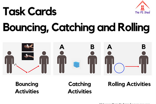 Bouncing, Rolling and Catching PE Task Cards