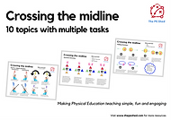 Crossing the midline PE Task Card Pack - 10 Physical Education Tasks to improve motor skills and midline crossing.