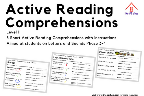 Active Reading Comprehensions - Level 1 Letters & Sounds 3-4
