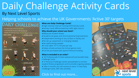 Daily Challenge Activity Cards for Active 30 Sports Premium funding