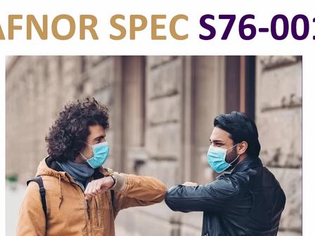 Masques barrières réalisés à partir de l'AFNOR Spec S76-001