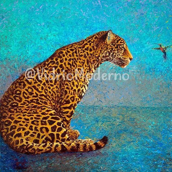Leopardo y colibrí