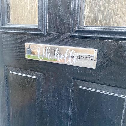 'Oh, hello' letterbox sticker