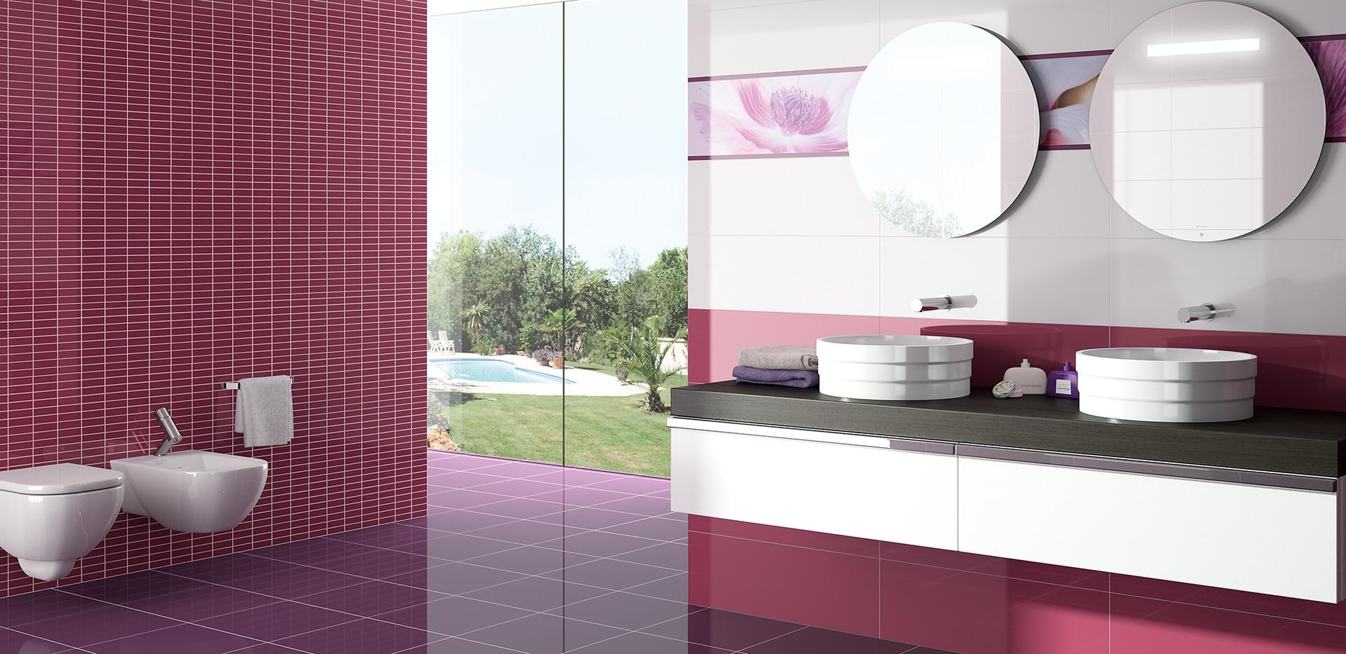 salle de bain Pink Carreaux brillants