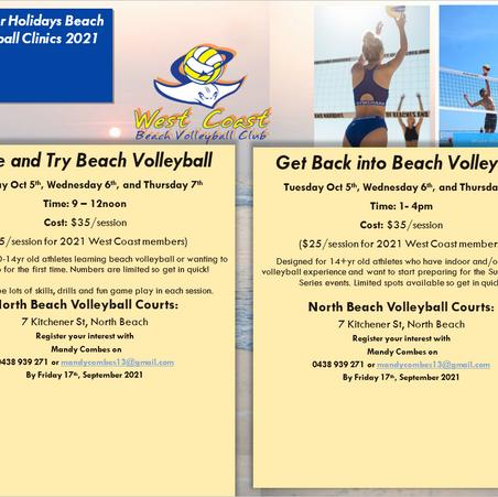 October Holidays Beach Volleyball Clinics 2021
