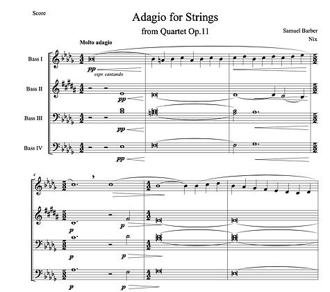 Samuel Barber - Adagio for Strings (Bass Quartet)