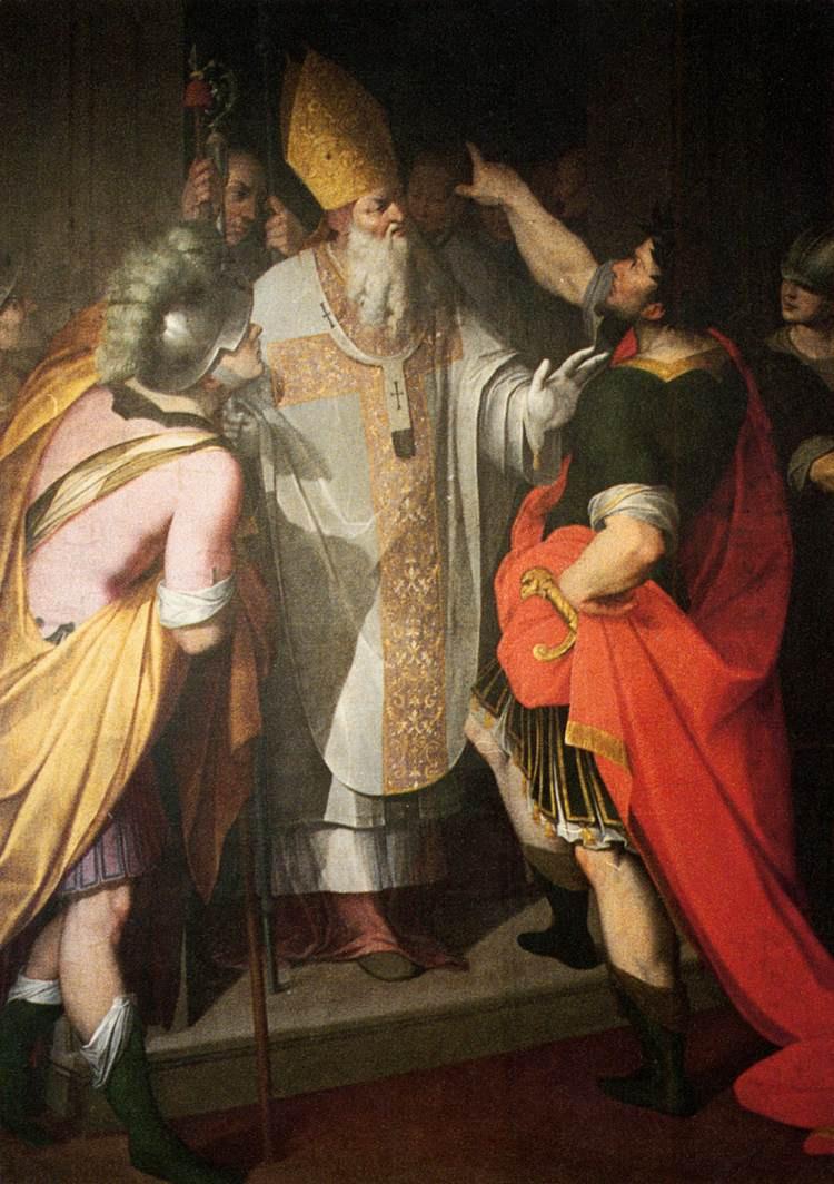 St Ambrose of Milan. Saint Ambrose of Milan. Bishop Ambrose of Milan. Gibraltar Catholic Youth.