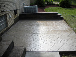 Stamped Concrete patio & wall after