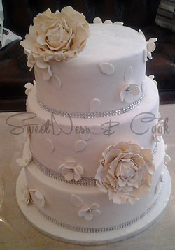 Wedding Cake Pivoines vintage
