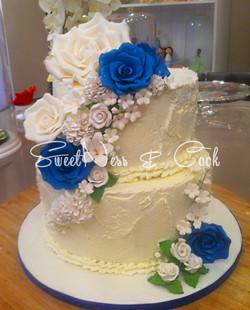 Wedding Cake Bleu Elégance