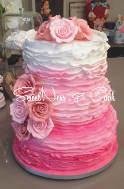 Wedding Cake Pink Ruffle