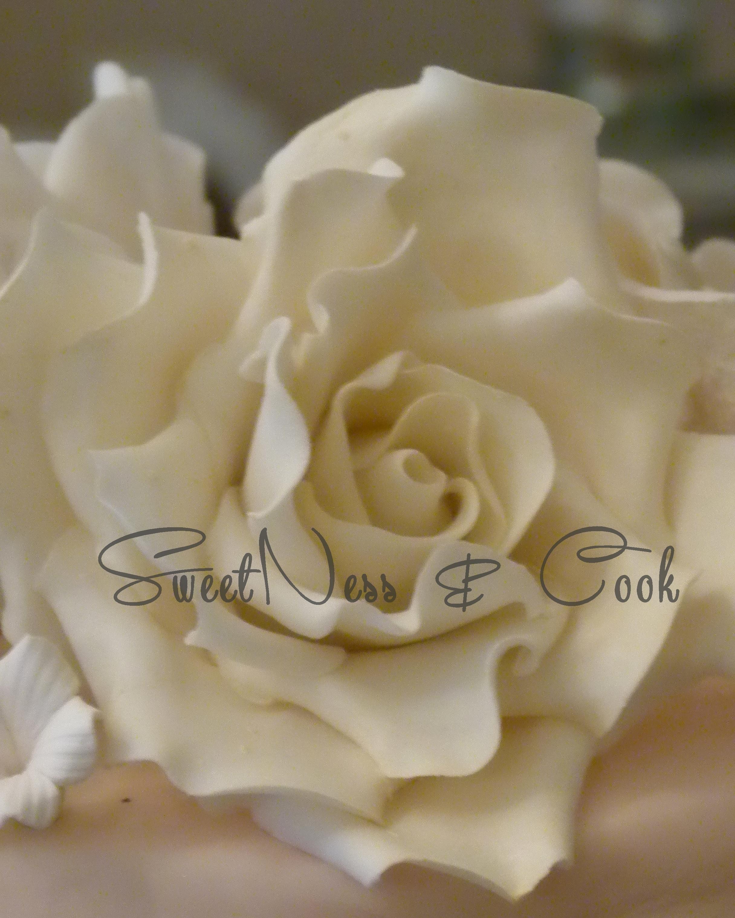 Rose blanche en pâte à sucre