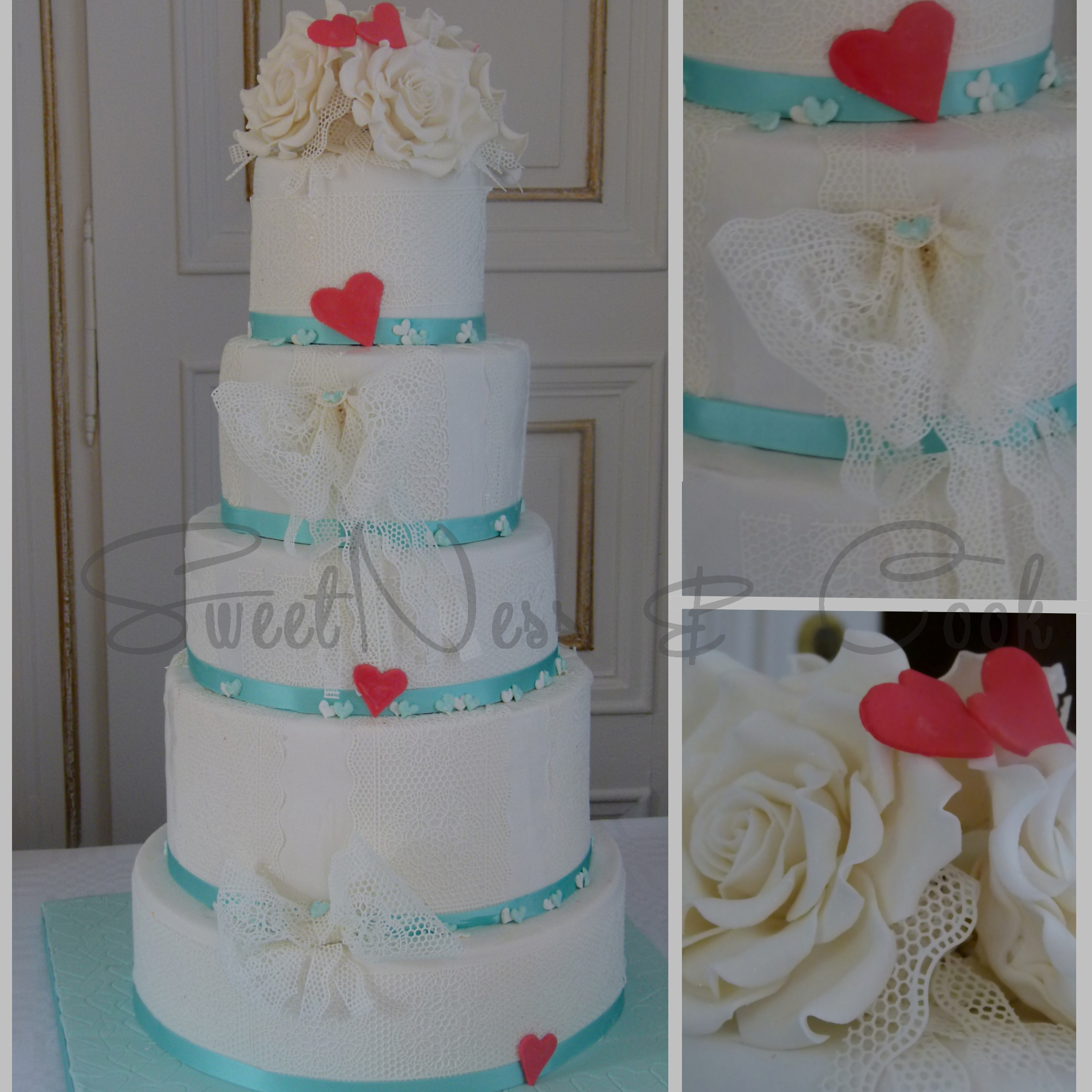 Wedding Cake dentelles et roses