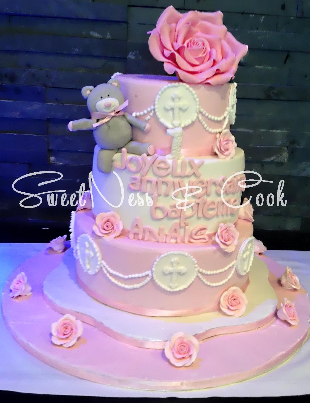 Cake Design Baptême et nounours