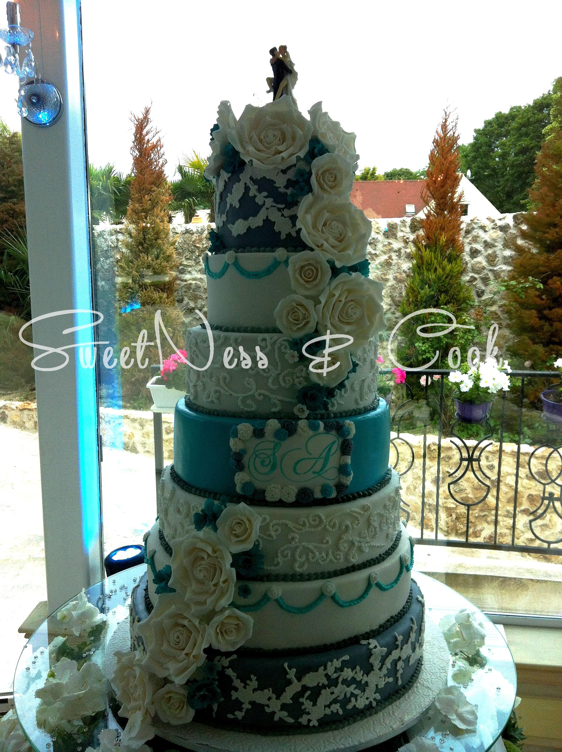 Wedding Cake gris et turquoise
