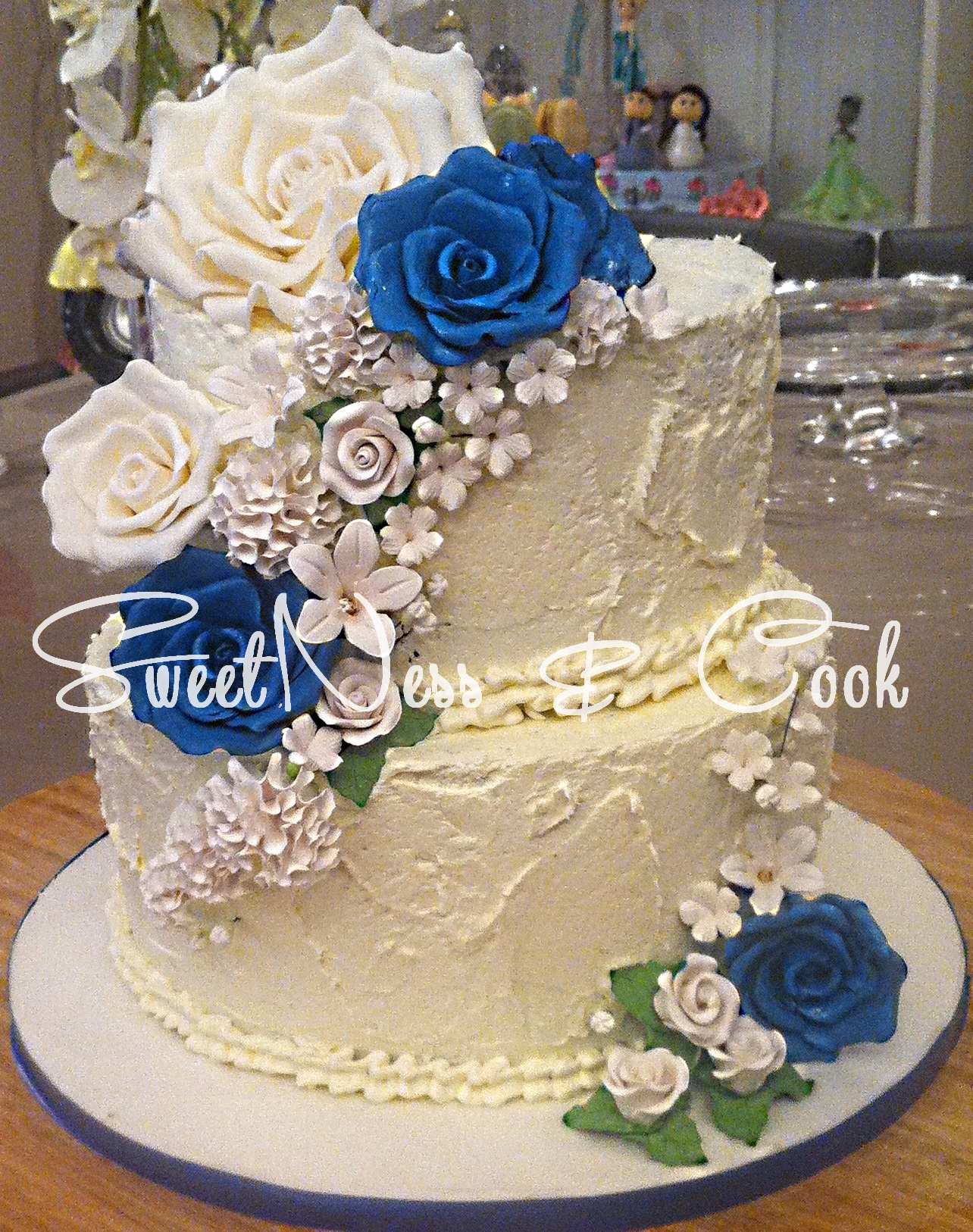 Wedding Cake Bleu Elégance