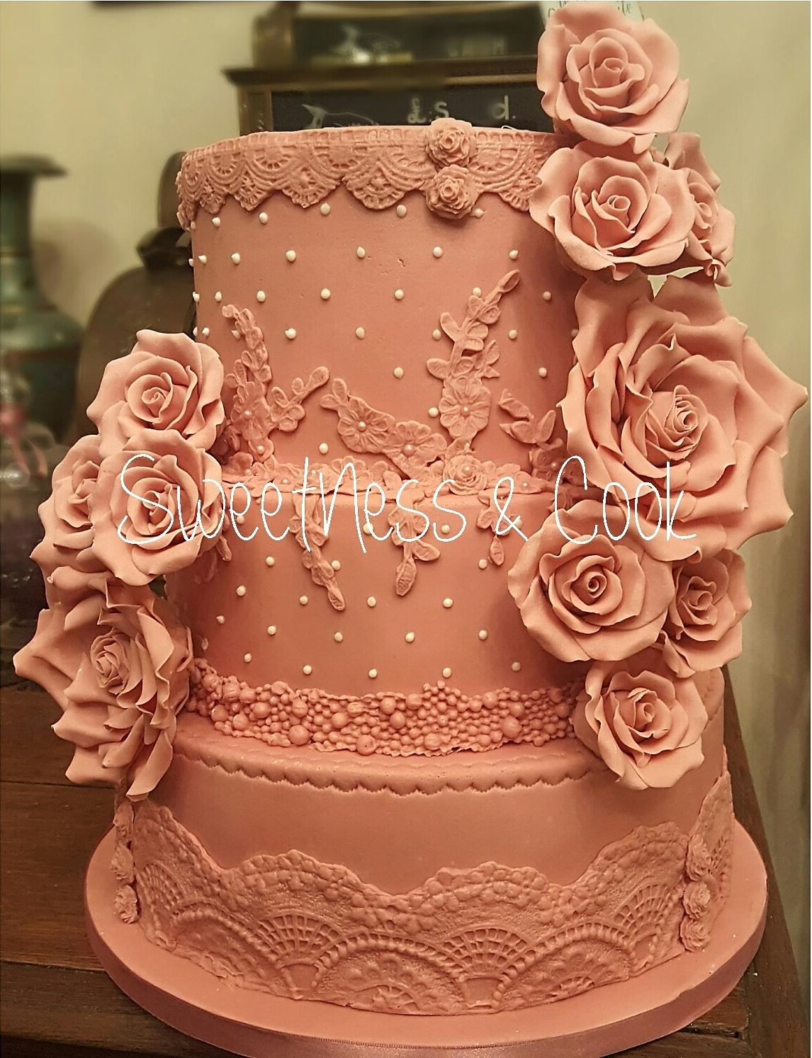 Wedding Cake Shaby chic vieux rose