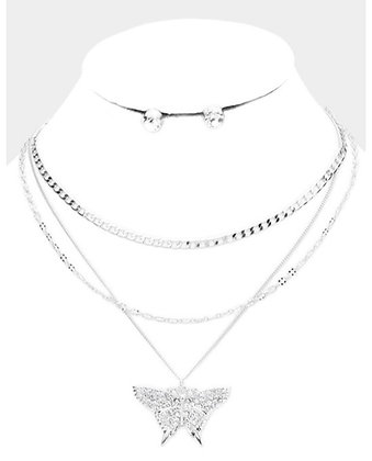 Silver 3 chain butterfly