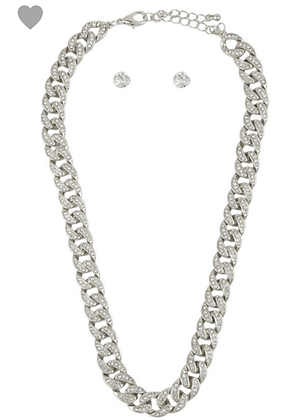 Thick silver Cuban chain