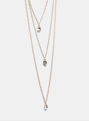 Triple gemstone layered necklace