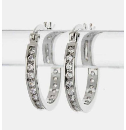 Silver mini round hoops