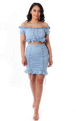 Light ruffle denim set