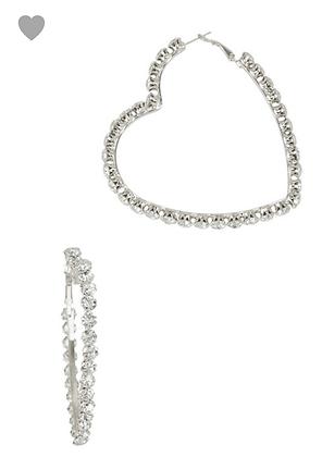 Silver clear heart shape hoops