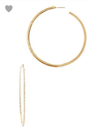 Pearl accent hoop earrings