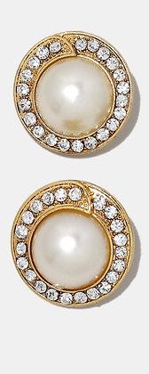 Pearl rhinestone clip on earrings