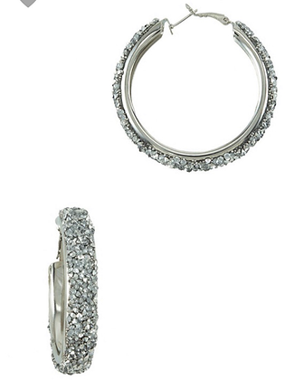 Silver rhinestone sparkle hoops