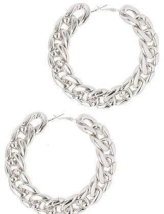Silver chain hoops