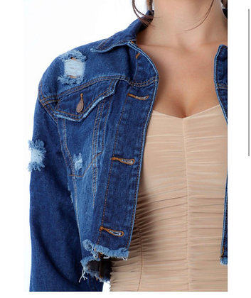 Distressed crop denim jacket