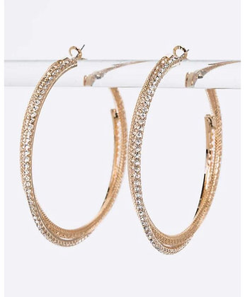 Gold rhinestone crisscross hoops